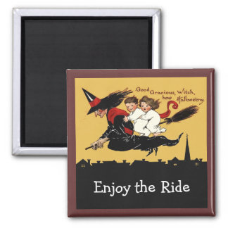 witch ride frig art refrigerator magnet