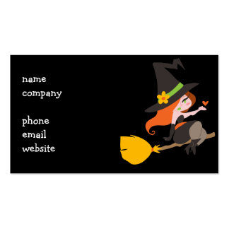Witch Riding a Broomstick Business Card