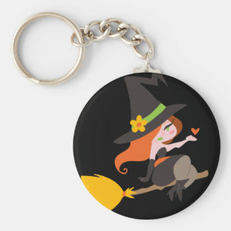 Witch Riding a Broomstick Key Chain
