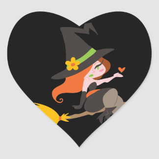 Witch Riding a Broomstick Heart Stickers