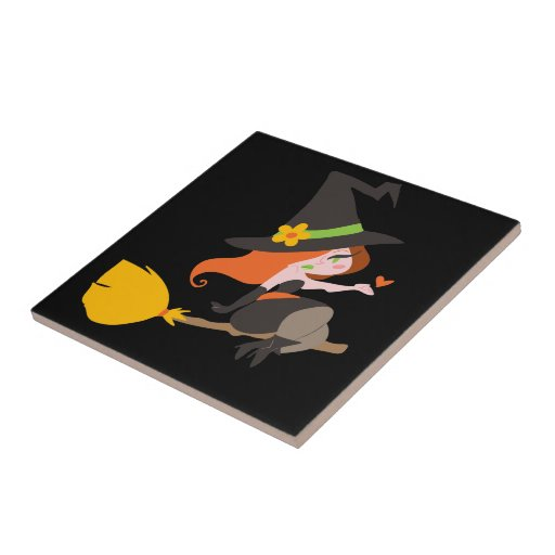 Witch Riding a Broomstick Tile
