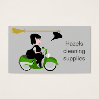 Witch Riding A Green Moped Business Card