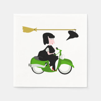 Witch Riding A Green Moped Paper Napkin