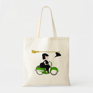 Witch Riding A Green Moped Tote Bag