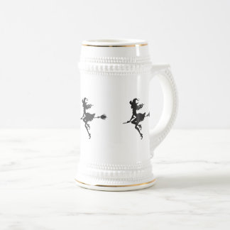 Witch Riding Broom Halloween Thunder_Cove Beer Stein