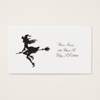 Witch Riding Broom Halloween Thunder_Cove Business Card