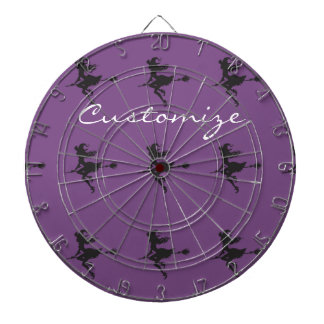 Witch Riding Broom Halloween Thunder_Cove Dartboard With Darts