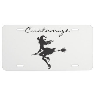 Witch Riding Broom Halloween Thunder_Cove License Plate