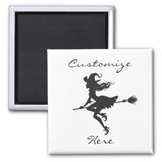 Witch Riding Broom Halloween Thunder_Cove Magnet