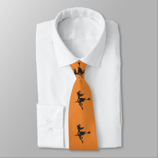 Witch Riding Broom Halloween Thunder_Cove Neck Tie
