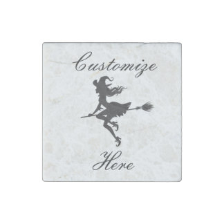 Witch Riding Broom Halloween Thunder_Cove Stone Magnet