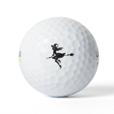 Beach Themed Witch Riding Broom Thunder_Cove  Halloween Golf Balls