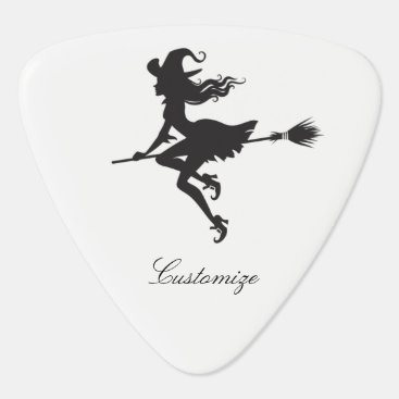 Beach Themed Witch Riding Broom Thunder_Cove  Halloween Guitar Pick