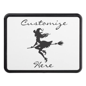 Beach Themed Witch Riding Broom Thunder_Cove  Halloween Tow Hitch Cover