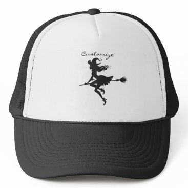 Beach Themed Witch Riding Broom Thunder_Cove  Halloween Trucker Hat