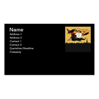 witch riding high profile card business card