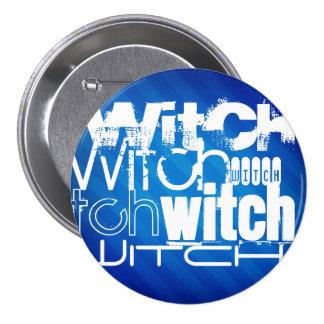 Witch; Royal Blue Stripes Pinback Button