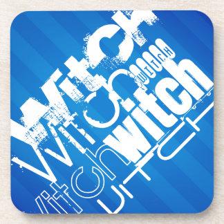 Witch; Royal Blue Stripes Drink Coaster
