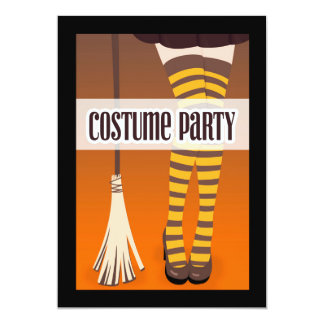 Witch's Legs with Broom Costume Party Invitation