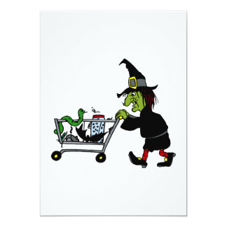 Witch shopping for supplies invitations