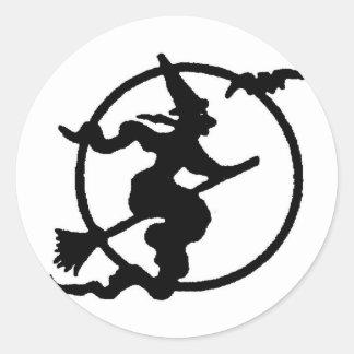 Witch Silhouette Classic Round Sticker