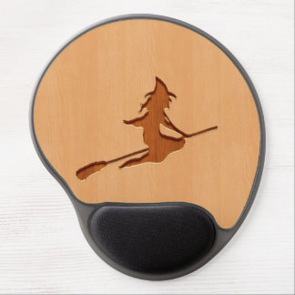Witch silhouette engraved on wood design gel mouse pad