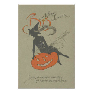 Witch Silhouette Jack O Lantern Pumpkin Poster