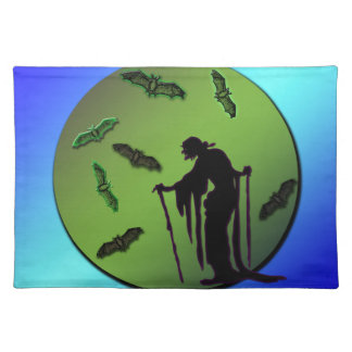 Witch Silhouette on Moon with Bats Halloween Placemats