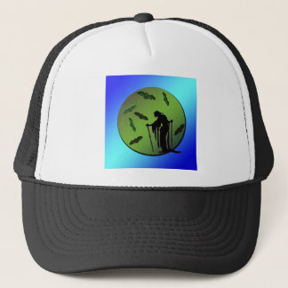 Witch Silhouette on Moon with Bats Halloween Trucker Hat