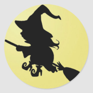 Witch Silhouette on Yellow.jpg Classic Round Sticker