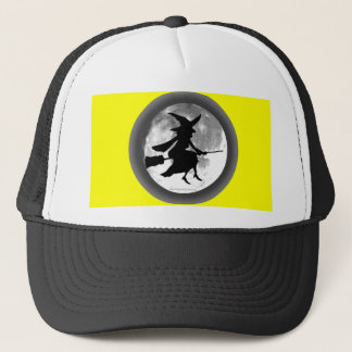 Witch silhouette over full moon trucker hat