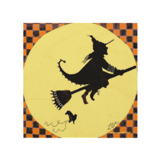 Witch Silhouette With Flying Shoe Wood Wall Art