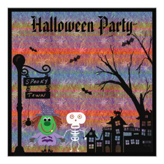 Witch & Skeleton Spooky Town Halloween Party Invite