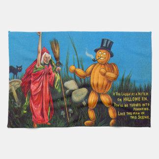 Witch Spell Jack O' Lantern Pumpkin Black Cat Kitchen Towels