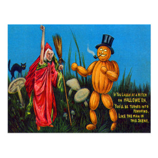 Witch Spell Jack O' Lantern Pumpkin Black Cat Postcard