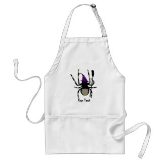 witch spider with broom adult apron