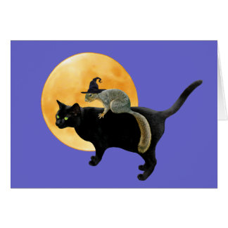 Witch Squirrel on Cat Card