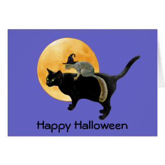 Witch Squirrel on Cat Halloween Card