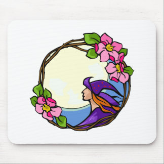 Witch staring at the Moon Mousepad