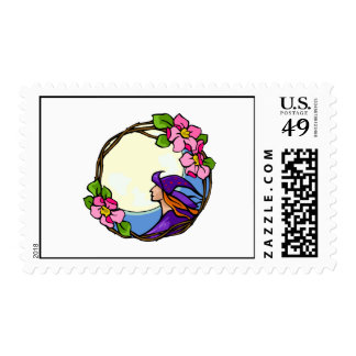 Witch staring at the Moon Postage Stamp
