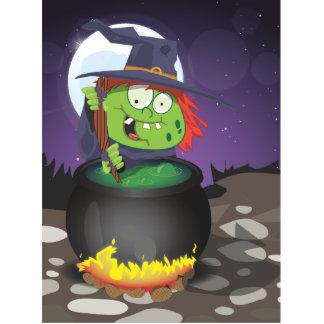 Witch Stirring a Cauldron . Standing Photo Sculpture
