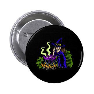 Witch stirring brew pins