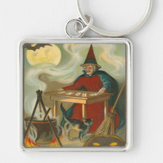 Witch Tarot Bat Full Moon Black Cat Silver-Colored Square Keychain