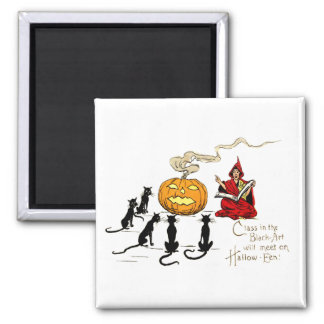 Witch Teaching Black Cat Jack O' Lantern Magnet