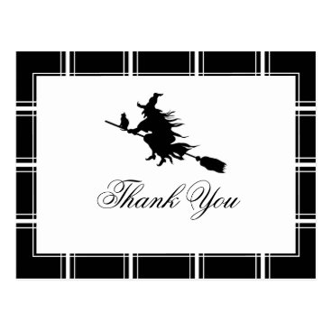 Witch Thank You Halloween Black Postcard