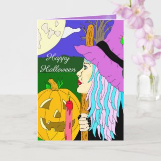 Witch Themed Halloween Card
