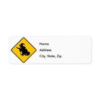 Witch Traffic Highway Sign Return Address Label