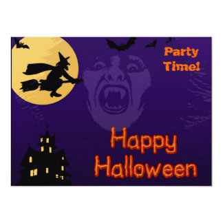 Witch, Vampire and Haunted House Card