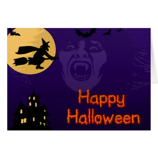 Witch, Vampire and Haunted House Greeting Card