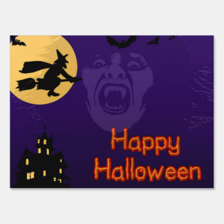 Witch, Vampire and Haunted House Halloween Sign